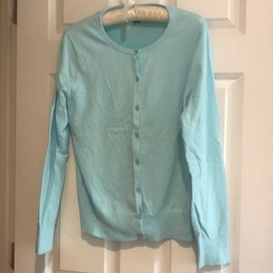 Women's Supima Cotton Cardigan Aqua Sweater